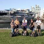 our group in front of the USS Midway aircraft carrier