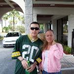 Me and my youngest son (christian) at our hotel , on vacation in orlando 4/09