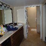 The dressing area (our kitchenette), and bathroom beyond.