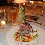 Ahi Tuna on Couscous with Thai Slaw - Delicious!