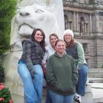 Sarah, Stephanie, Kalena, and I in Glasgow at a memorial for fallen soldiers.