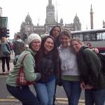 Kalena, Troy, Sarah, Stephanie and I at Town Center Square in Glasgow Scotland.