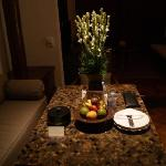 dinner table with fruits refilling