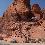 View of stairs (Atlatl rock) to petroglyphs