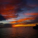Blick vom Landesteg auf Sonnenuntergang