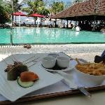 Traditional satay lunch by the pool