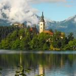 The church on Slovenia's only island(!), Bled castle and the Karavanke mountains