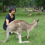Brisbane, Australia bonding moment with a kangaroo