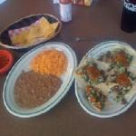 Tacos Carne Asada with side of beans and rice