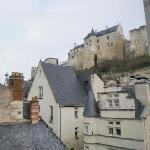 View of Chinon fortress from hotel stairway
