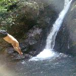 Swimming at a nearby waterfall
