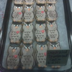 Owl cookies baked and decorated that morning before Valentine's Day.