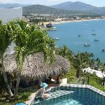 This is the view from the master bedroom window, showing the plunge pool and Manzanillo Bay belo