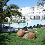 pool area with rooms in back