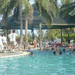 grupo de animadores en la piscina
