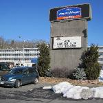 """The sign and motel...taken from near the mailbox near the center-right of the """"Downtown Staunton"""