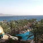 View over the swimming pool and the Red Sea from our balcony