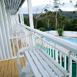 balcony overlooking the pool, the sea and merimbula town
