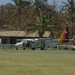plane lands at 'arrivals' hut