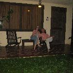 Relaxing in front of our room