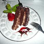 Chocolate cake (garnished with the sweetest strawberry)
