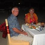 Ruby wedding meal on the beach
