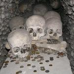 The creepy photos of human bones were taken at the Sedlec Ossuary, need the town of Kutna Hora i