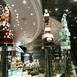 Chocolate sculpture towers at Jean-Philippe Patisserie inside ARIA at CityCenter
