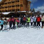 The whole group on the ski slope