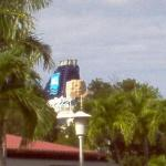 Our ship as seen from the Havensight Shopping Mall campus; yes, that is an actual rock climbing