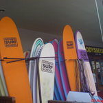 Surf boards outside the surf school