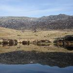 Outdoor pool with view of Glyder Fach