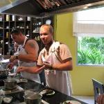 Troy cooking up a storm in our Thai cooking class at our resort.