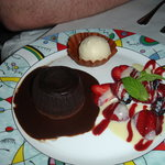 Yoshi's Cafe flourless chocolate cake
