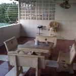 shared balcony for the top two rooms. great for relaxing during the day or  unwinding after a lo