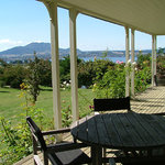 Acacia Bay Lodge view of Lake Taupo taken from veranda