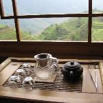 Tea overlooking the rice terraces