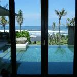 View of private pool from living room