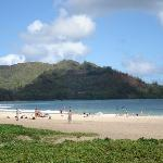 The beach that was a two minute walk from our rental on Hanalei Bay