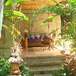 "The outdoor ""living room"" of the Sandat cottage"
