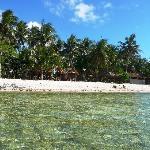 A beach and a lagoon close by