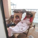 my wife & daughter on our balcony