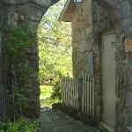 The walkway to the stone patio