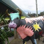 Painted cow at the cheese factory