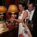 Cutting of the cake in the beautiful surroundings