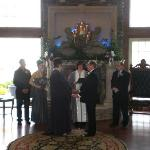 Our Ceremony in front of the beautiful fireplace