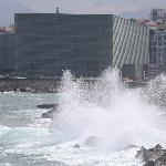 Breaking waves on the seafront
