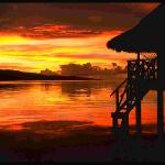 Over Water Bungalow at Sunset