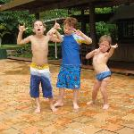 The kids getting silly by the pool