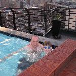 My son, Alasdair McKerrell, and I in the rooftop pool.
